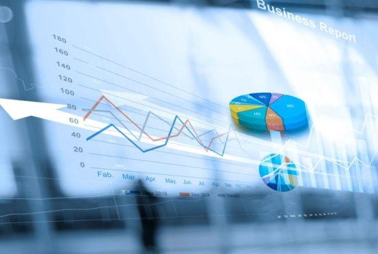 Business report and analyzing sales data on networking, Abstract interface, and economic growth graph chart with social network diagram, digital marketing.